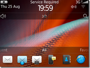 Blackberry device main screen