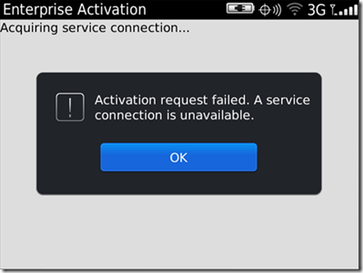 Activation Request failed.  A service connection is unavailable