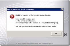 Unable to connect to the Synchronization Service