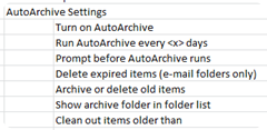 AutoArchive Group Policy Settings
