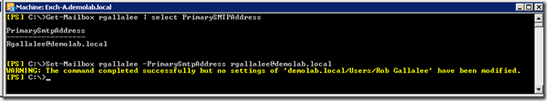 WARNING: The command completed successfully but no settings of 'demolab.local/Users/Rob Gallalee' have been modified.
